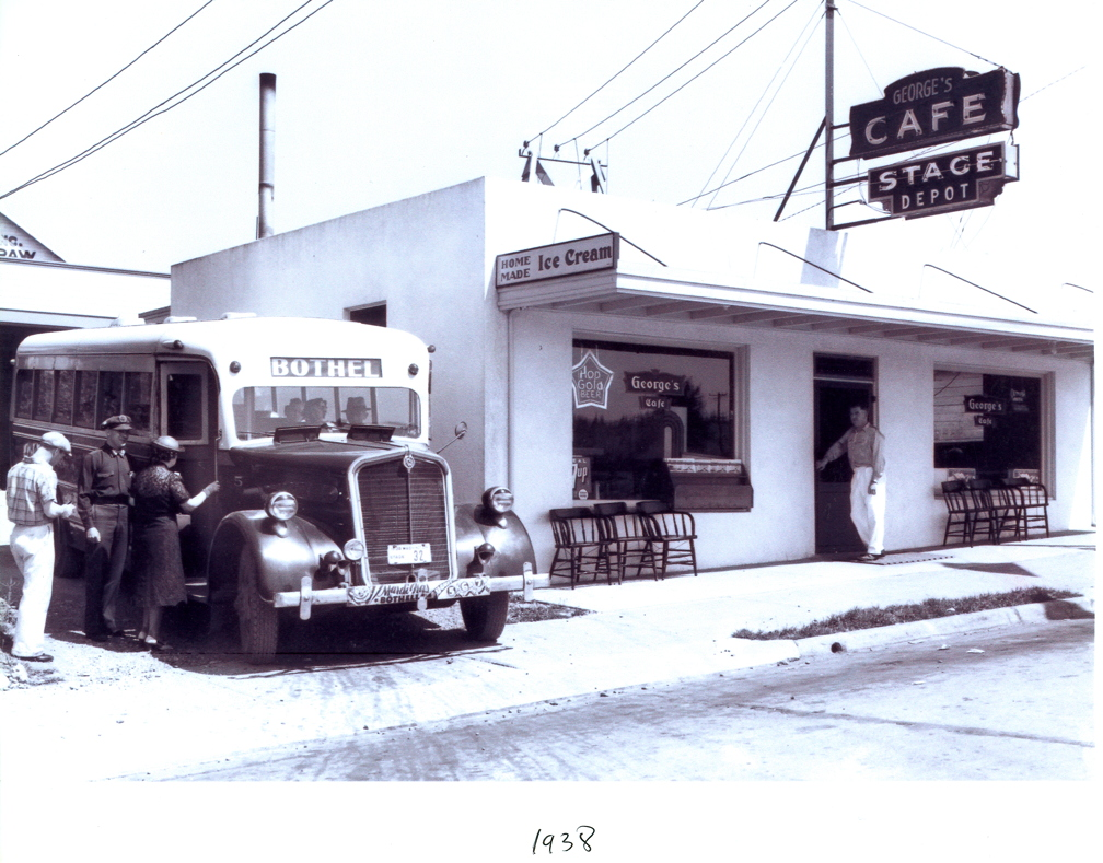 George's Cafe and Bus Depot, Main Street, 1938