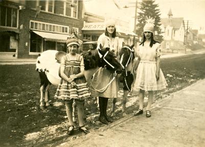 3 girls 2 ponies prepare for parade ca 1940-sm