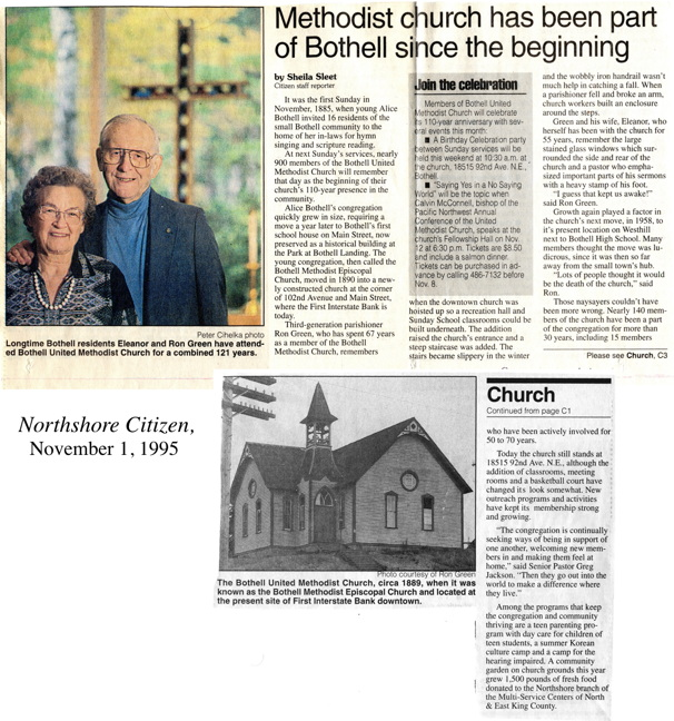 Northshore Citizen article on 110th anniversary of Bothell Methodists.