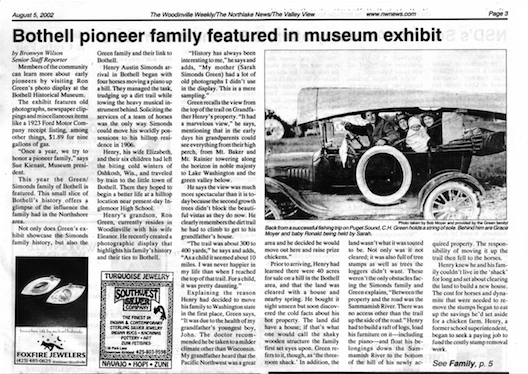 Woodinville Weekly article about the museum's honoring the Green family