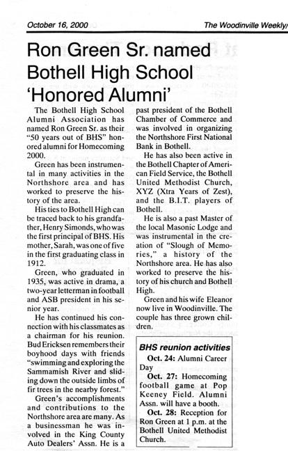 2000 Distinguished Alumnus award to BHS graduate Ron Green.