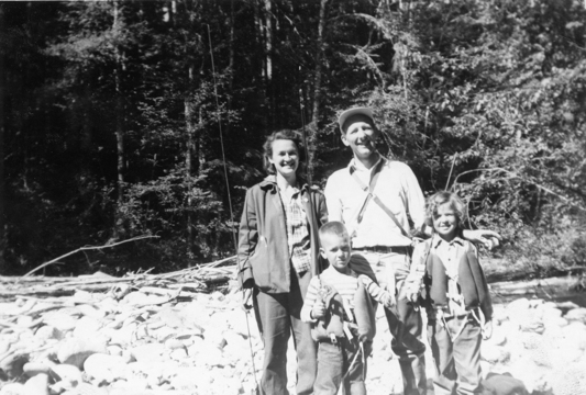 The Green family, Eleanor, Ron, Darrell and Janet on a camping/fishing trip.