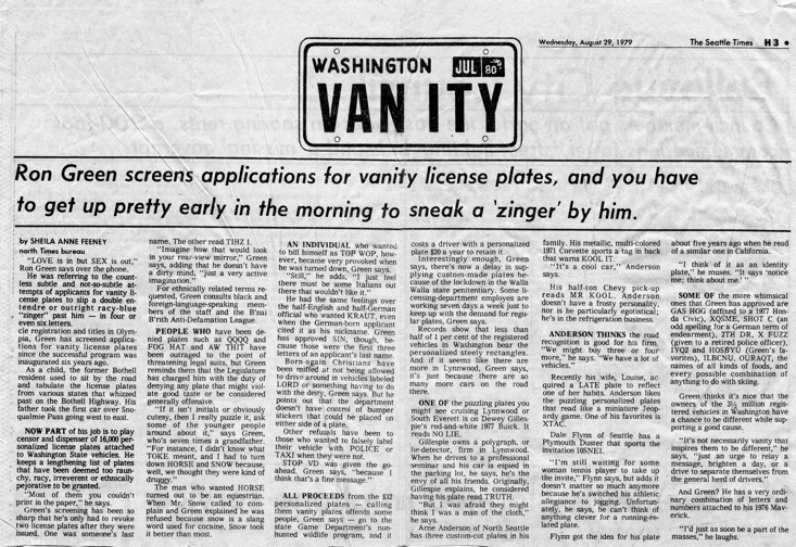1979 Seattle Times article about Ron Green screening vanity plate requests.