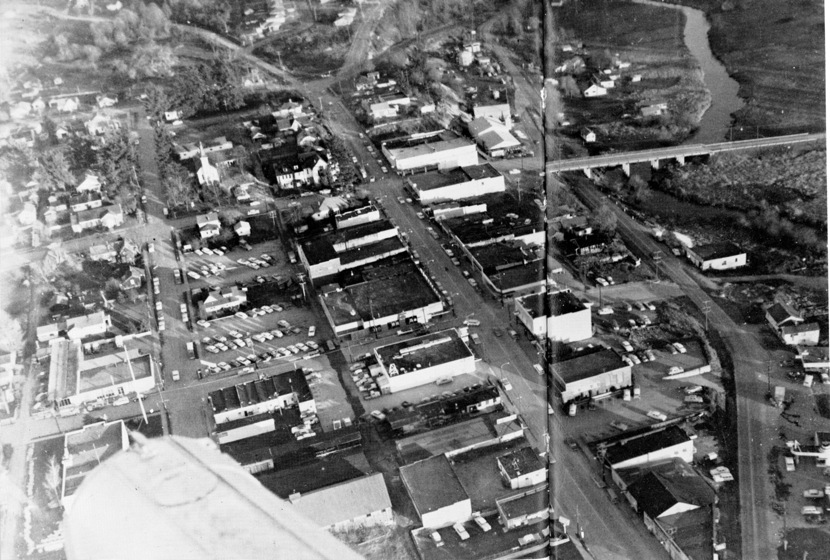 Bothell, mid-1950s, before the Methodist Church was torn down after the congregation moved in May 1958 up next to the high school.